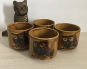 Set of 4 Vintage Earth Tone Otagiri Sake Tea Cups Owl Mugs Made in Japan
