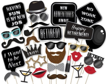 Retirement Party Photo Booth Props Instant Download Etsy