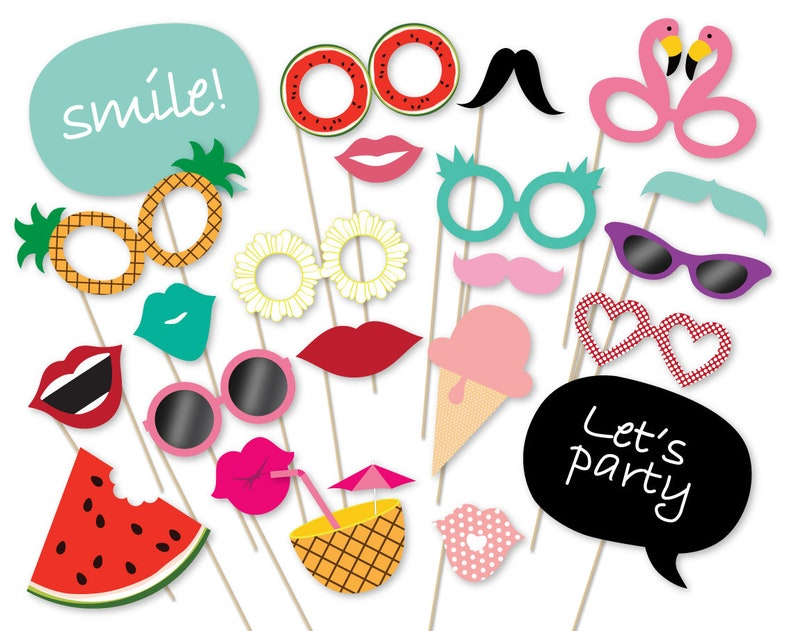 Summer Party Photo Booth Props Printable Pdf Flamingo Party Etsy