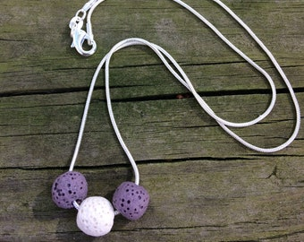 Essential oil diffuser necklace, silver plated