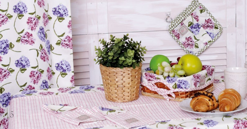 Purple Garden Flowers French Country Style Pure Cotton Curtain Panel
