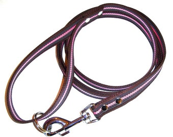 Super grip leash, brown and pink