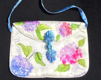 Handpainted Silk Charmeuse Shoulder Bag with Colorful Hydrangeas