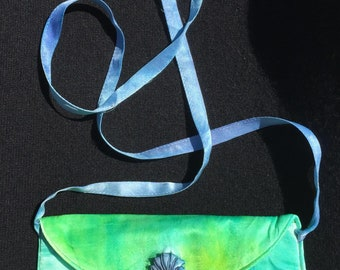 Handpainted Silk Charmeuse Shoulder Bag with Dragonflies