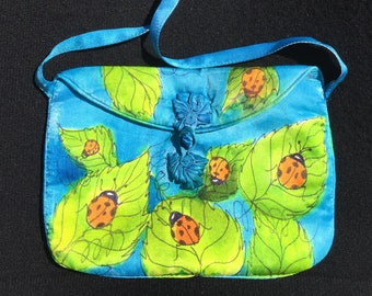 Handpainted Silk Charmeuse Shoulder Bag with Ladybugs on Leaves