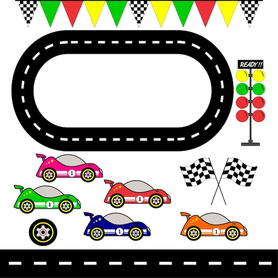 Racing Cars, Race Track Clipart / Checkered Flag/ Graphic Image/ Printable / Scrapbook Digital Image / Instant Download / Commercial Use by Etsy