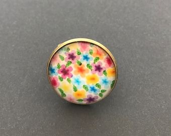 Adjustable 25mm glass cabochon ring