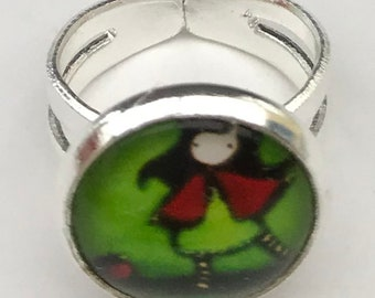 Child ring adjustable 12mm glass cabochon