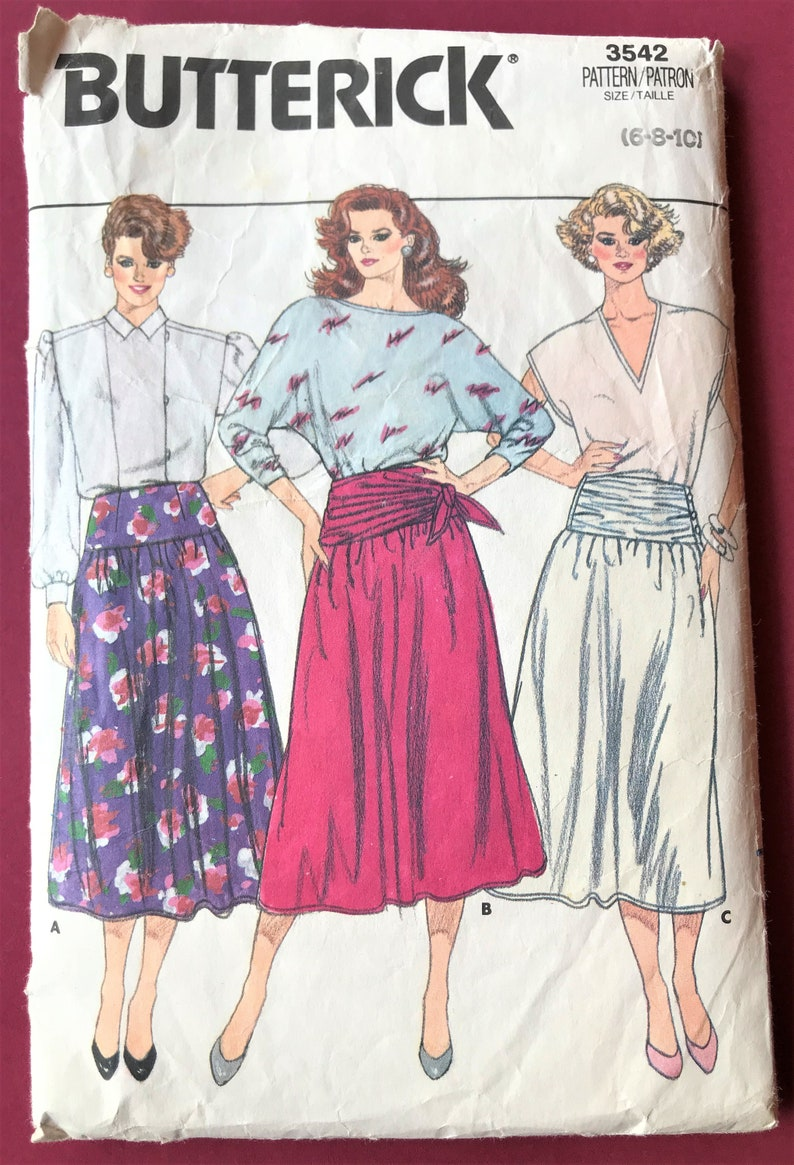 Butterick 1980/'s Draping Flared Skirt Size 6-8-10 with Contoured WaistYoke Dressmaking  Garment  Clothing Sewing Pattern 1985
