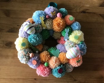 Decorative Pom Pom Wreath