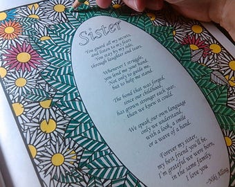 Sister Poem Coloring Page