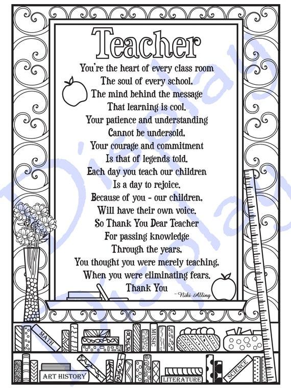 Teacher Appreciation Poem Coloring Page Etsy