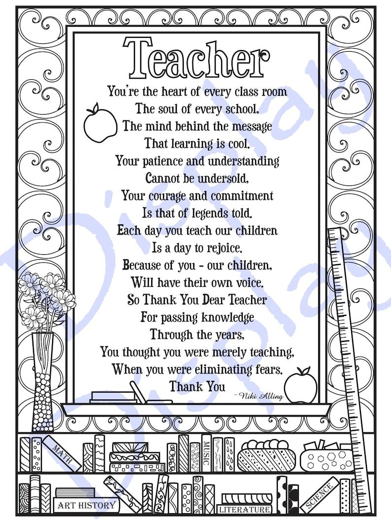 Teacher Appreciation Poem Coloring Page
