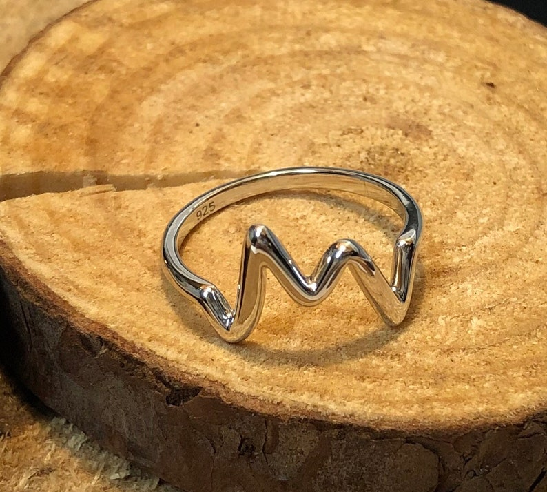 Small Sterling Silver Heartbeat Ring