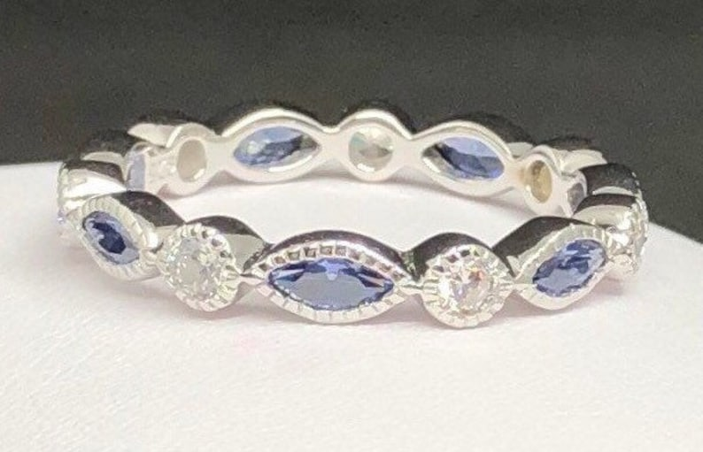 Round and Marquise Tanzanite CZ Eternity Ring