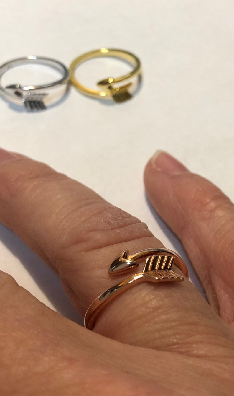 Arrow Ring Sterling Silver Rose Gold and Gold