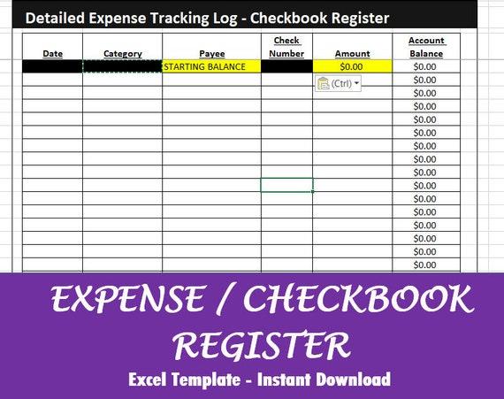 checkbook register detailed expense log excel downloand etsy