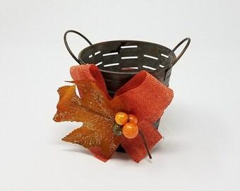 Fall Mini Bucket, Table Arrangement Bucket, Ribbon Bucket, Fall Bucket, Rustic Bucket, Metal Bucket, Thanksgiving Party