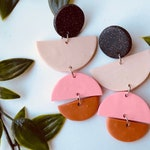 black glitter, beige, vibrant pink and burnt orange retro mod drop semi-circle polymer clay earrings gift for her 60s vibe funky glitter