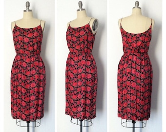 Vintage 1950s Silk Wiggle Rose Print Dress