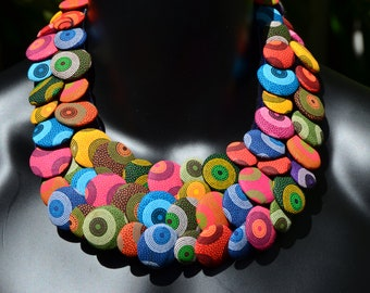 Statement necklace made of 'capulana' 100% cotton