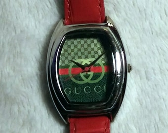 e610328562a4 Cucci Fartz Tonneau Steel Case Watch with Red Leather Band
