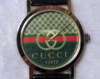 7933e3194 Cucci Fartz Gold Tone Watch Wristwatch Gucci Inspired with Black Metal Mesh  Band Gold Tone Buckle and Strap Keeper