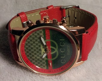 b38a42bf1d2b Cucci Fartz in Rose Gold Tone Case Red Style with Red Band