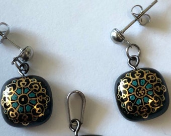 Handmade Stainless steel Gilding enamel Pendant and Earrings whsgs4001