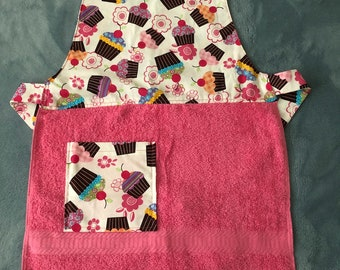 Child's Apron- Pink Cupcakes