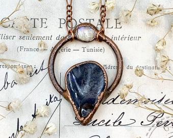 Australian Boulder Opal and Moonstone Handmade Copper Pendant, Bohemian Electroformed Jewellery