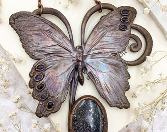 Real Butterfly with Black Sunstone, Copper Electroformed Insect Statement Jewellery, Art Pendants, Suncatcher