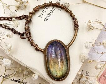 Purple Labradorite Pendant, Bohemian Style Copper Pendant, Electroformed Jewellery