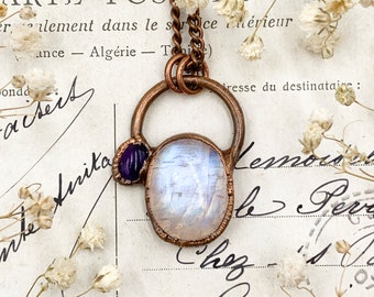 Simple Moonstone and Amethyst Pendant, Copper Electroformed Jewellery, Bohemian Jewels