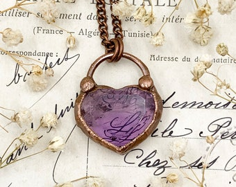 Amethyst and Copper Heart Necklace, Chunky Crystal Heart, Copper Electroformed Pendant