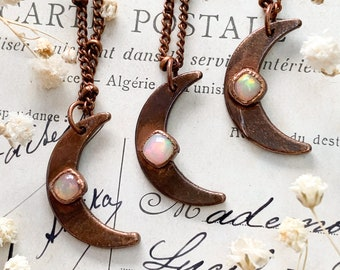 Tiny Opal Moon Pendant, Ethiopian Opal Copper Necklace, Simple Electroformed Necklace