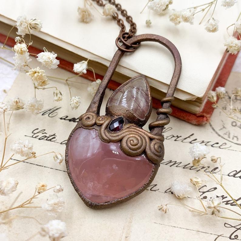 and Garnet Pendant Copper Electroformed Sacred Heart Inspired Jewellery Rose Quartz Rutile Quartz