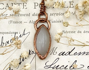 Tiny White Moonstone Pendant, Simple Copper Crystal Jewellery, Electroformed Necklace