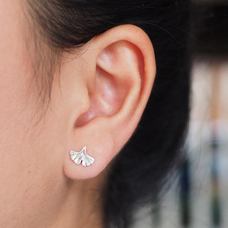 Ginkgo Leaf stud Earrings, Ginkgo Biloba stud, Autumn Jewelry / BR309