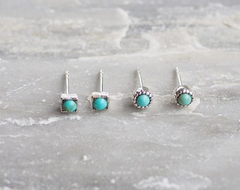 Bali Turquoise stud Earrings, Boho Jewelry, Turquoise Jewelry