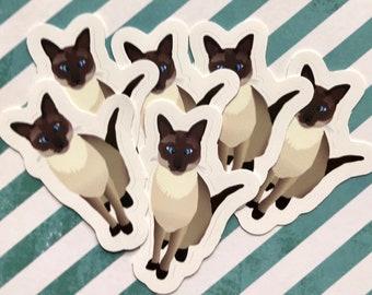 6-Pack Elvis the Siamese Cat Mini Murderino Stickers - MFM
