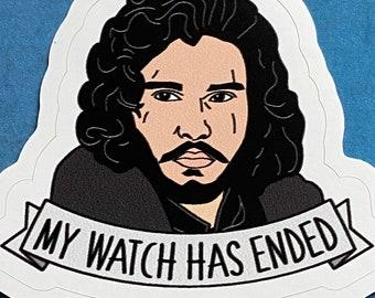 Jon Snow - My Watch Has Ended - Game of Thrones Vinyl Sticker