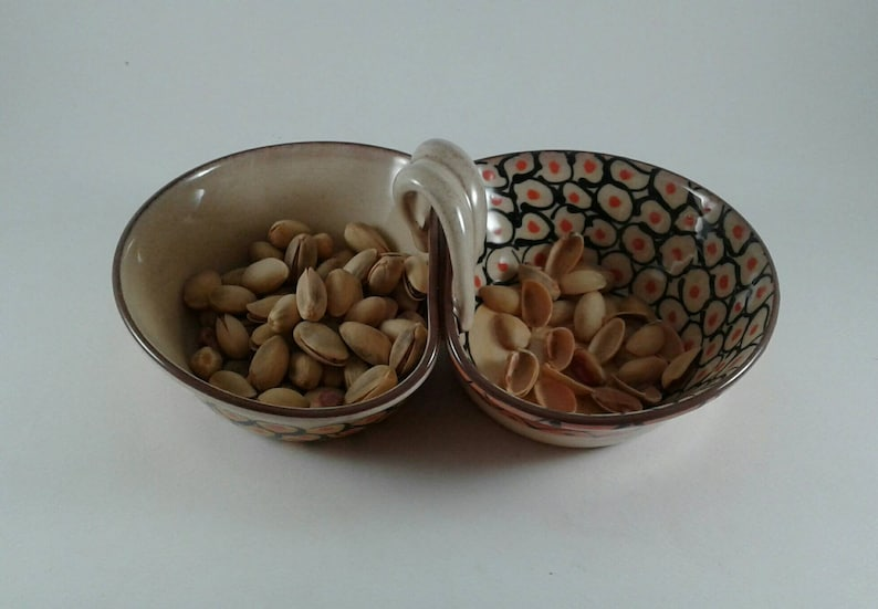 Double Side Bowl Ceramic Pistachio Bowl Handmade Ceramic Two-in-One Bowl