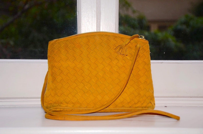 1c2a78dbc8 BOTTEGA VENETA Crossbody Mustard Yellow Suede Intrecciato
