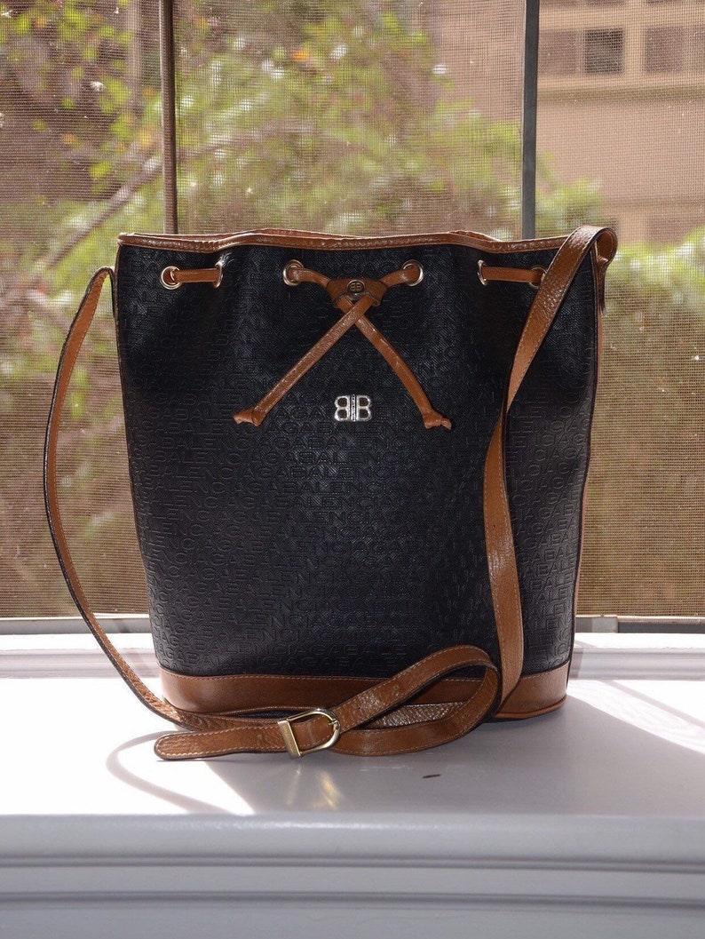 4dc8e01ddb8 BALENCIAGA Rare Black Bucket Style Drawstring Shoulder