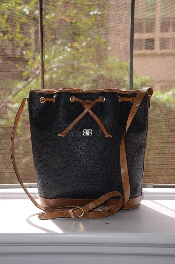 99841e6cdf BALENCIAGA Rare Vintage Logo Black Bucket Style Drawstring