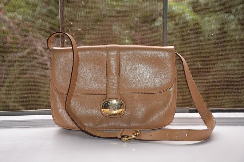 cdfd7cfcb1575 CELINE Beige Tan Vintage 1970's Shoulder Flap Bag & Convertible Clutch With  Gold Accents // Authentic Vintage 70's Celine Handbag Purse