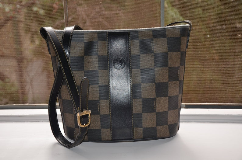 FENDI Vintage Checkerboard Print Coated Canvas Bucket Style  2a308c5f49557