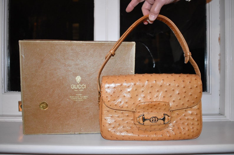 fa0e6cfb3af GUCCI Vintage Ostrich Tan Yellow Leather Shoulder Handbag With