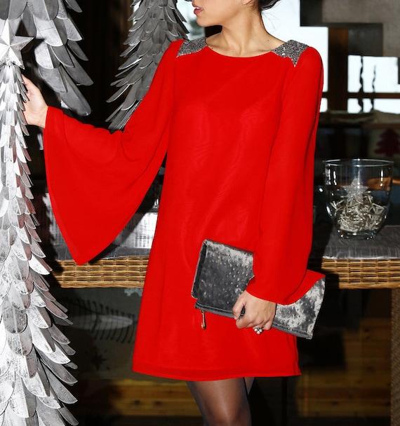 Kleid rot pailletten